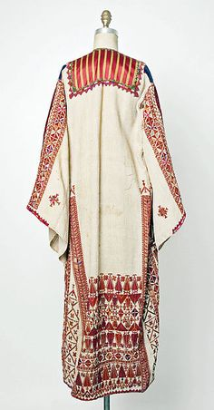 Palestinian woman's tunic, cotton, appliqué silk panel, silk threads embroidery, early 20th c