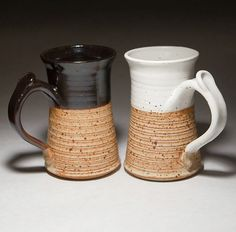 Cups- A dark glossy glaze + a matte glaze compared to a white matte glaze + a matte earthy glaze. This is also a good example of solid finishes combined with variegated finishes with glazes