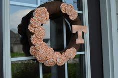 Gingham Vols Burlap Wreath by KaitlinLaneDesigns on Etsy, $32.00