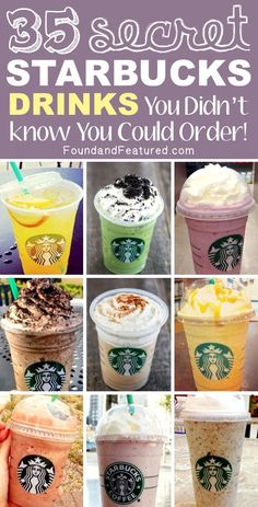 Starbucks drinks - click on the picture then click on the link that his highlighted - the amazing list of secret Starbucks drinks over at Jolt24! There you will find recipes for these drinks.