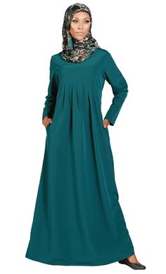 This modest yet classy abaya is great for everyday wear! High waisted, round neck line and pleats below the chest line to give the dress flair. Fabric: Lightweight Kashibo
