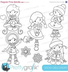 80 OFF SALE Winter Girls Stamp Commercial Use Vector Graphics Digital