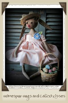 Primitive Bunny ~ Daisy Rabbit Doll with a Basket of Easter Eggs ♥ Homespun Hugs and Calico Kisses