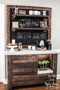 Here are 30 brilliant coffee station ideas for creating a little coffee corner that will help you decorate your home. See more ideas about Coffee corner kitchen, Home coffee bars and Kitchen bar decor, Rustic Coffee Bar. Decor, Bar Furniture, Coffee Bar Home, Kitchen Remodel, Kitchen Decor, Bars For Home, Home Coffee Stations, Sweet Home, Home Kitchens