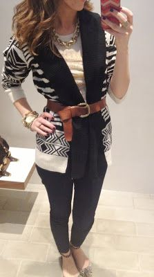 Another great looking black and brown combo! Try belting an open cardigan and adding a chunky necklace.