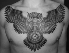 Owl Chest Tattoo (by Maartje @ PiratePiercing Turnhout, Belgium) Blue Iris accent
