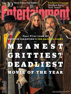 'The Hateful Eight': Primer vistazo a Samuel L. Jackson, Jennifer Jason Leigh y Kurt Russell  Tres de los ocho abominables del 'western' de Quentin Tarantino se asoman a la portada de 'Entertainment Weekly' caracterizados como sus personajes.