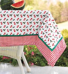 Easy-Clean Wind-Tamer Square Tablecloth, with Cherry Print Picnic Blanket, Outdoor Blanket, Oilcloth Tablecloth, Cherries Jubilee, Cherry Kitchen, Vintage Kitchen Decor, Table Toppers, Cottage Chic, Hope Chest