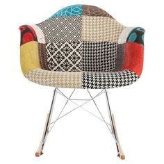 Showcasing patchwork-print upholstery and a modern design, this eye-catching rocking chair is a lovely addition to your living room or nursery.