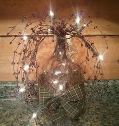 Light up Primitive gallon jug w/ berries & homespun rustic country decor
