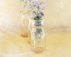 Vintage Retro Clear Glass Milk Bottles Set of by RosebudsOriginals, $15.00