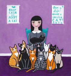 Shelter Cats Original Cat Folk Art Painting by KilkennycatArt (Ryan Conners)