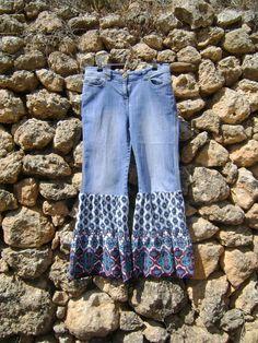 Ruffled Pants Hippy Trousers Bell Bottom Jeans. $50.00, via Etsy.