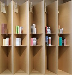 London designers Campaign installed a cardboard shop selling architecture books as part of the London Design Festival in Karton Design, Cardboard Design, Cardboard Furniture, Retail Interior, Stand Design, Retail Design, Plank, Shelving, Furniture Design