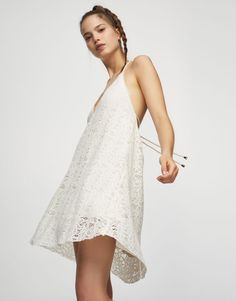 Crochet dress with spaghetti straps - Dresses - Clothing - Woman - PULL&BEAR Denmark