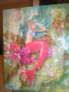 decoupage canvas mermaid stella
