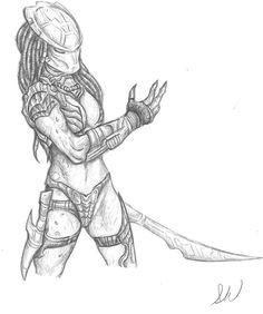 predator female from da comics by WintersAlexander