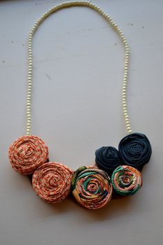 Fabric flower bib necklace by AmiablyCrafted on Etsy, $20.00