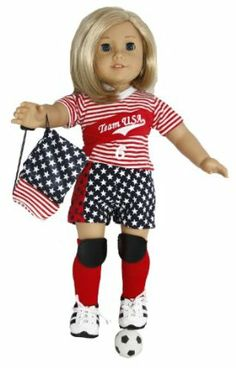 American 2-1 Soccer Outfit 2006 Blue Ball Bag For Doll Only