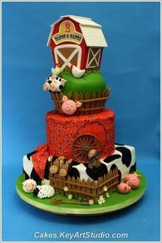 farm/barnyard themed cake by cristina  ideal para um aniversário caipira ou pra amantes do farmville!
