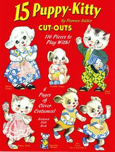 15 Puppy-Kitty paper dolls by Florence Salter