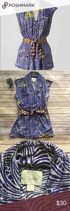"""Anthropologie DELETTA Soaring the Sea Top Sz S Anthropologie Deletta Soaring the Sea Top  Butterflies ride the drafts above a purple ocean, while a gilded belt of morning glories whorls at the waist. Size Small 100% Viscose Approx. 24.5"""" length shoulder to hem Approx. 15"""" bust pit to pit  🚫Modeling 🚫Trades Anthropologie Tops Blouses"""