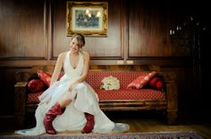 The red cowgirl boots add a pop of color! ------------------------Photo Courtesy of Cory Brodzinski Photography Red Cowgirl Boots, Red Boots, Fiery Red, Bridal Portraits, Getting Married, Color Pop, Lady, Photography, Colour Pop