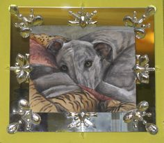 Vita,sweet,adorable,fun. Oil on canvas,50x60. The frame is mirror with antique cristals.