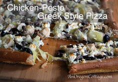 Chicken-Pesto Greek Style Pizza