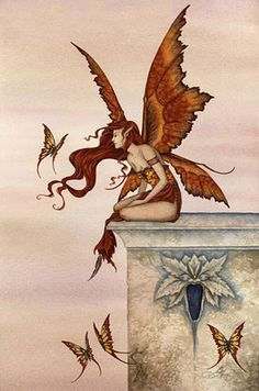 Fantasy art, Wings Like Sunset by Amy Brown Samhain, Amy Brown Fairies, Dark Fairies, Fantasy Fairies, Elves Fantasy, Dragons, Kobold, Fairy Pictures, Fantasy Pictures