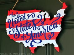 This bold hanging patriotic map outline of the continental U.S. can also act as an adorable accent piece in your home.