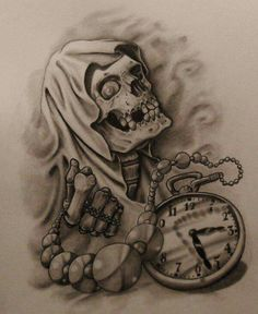 Pencil and ballpoint pen Reaper and Time Tattoo Sketch Clock Tattoo Design, Tattoo Design Drawings, Skull Tattoo Design, Tattoo Sketches, Drawing Sketches, Tattoo Designs, Chicano Art Tattoos, Skull Tattoos, Body Art Tattoos