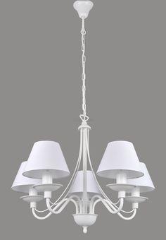 ŻYRANDOL z abażurami ROMA 5 biały/biały + kolory (5397726202) - Allegro.pl - Więcej niż aukcje.