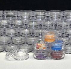 For the makeup artist professionals as well as those who love makeup, a full line of disposable makeup applicators, artist palette, powder puffs, and makeup brushes are available. Cosmetic Containers, Small Plastic Containers, Makeup Jars, Glass Jars With Lids, Pink Lips, Slime, Lip Balm, Soap, Cosmetics