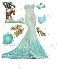 """""""Mermaid"""" by zoe-nicole 鉂?liked on Polyvore  Beautiful!!!  And I have this mermaid statue by my pool!!!"""