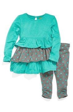 Nicole Miller Ruffle Tunic & Leggings (Baby Girls) (Online Only) | Nordstrom