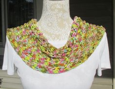 Women's hand knit cowl, infinity scarf, cowl scarf, single loop scarf, winter cowl, bulky knit cowl, fashion cowl in multi pastel colors.