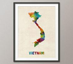 Vietnam Watercolor Map, Art Print (2132)