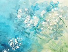 wildflowers abstract watercolor painting, blue and green,queen anne's lace and cornflowers, dreamy and calm original painting