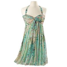 Pretty Aqua Teal and Pink Chiffon Halter Flowy Semi-formal Dress - Size 1X #ThePyramidCollection #Cocktail
