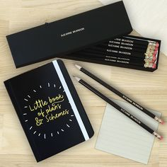 Plans & Schemes Notebook & Personalised Pencil Set. https://harringtons-gift-store.co.uk/collections/back-to-school/products/plans-schemes-notebook-personalised-pencil-set