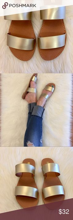 """🆕 The Empress Metallic Matte Gold Slide Brand new. Never worn. Beautiful Matte Metallic Gold Slide. The it color of the season. EASE INTO THE SEASON WITH THESE COMFY SLIDES AND EASY SLIP-ON SILHOUETTE. YOUR GO-TO'S WHEN YOU'RE READY TO GO THAT ARE PERFECT FOR ANY CASUAL SETTING. SIMPLE YET CHIC.  MATERIAL: MAN-MADE, LEATHERETTE SOLE: SYNTHETIC MEASUREMENT: HEEL HEIGHT: 0.75"""" (APPROX.)  FITTING: I'd say they fit slightly on the small side. If you are inbetween sizes go up half a size. I'm…"""