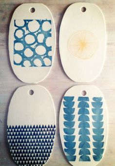 LOVE these. WANT these. WALL ART and function in one    porcelain oval cheese tray platter blue scallops by mbartstudios, $45.00 via Etsy