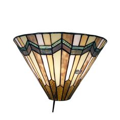 Earth toned Tiffany style glass give this conical Warehouse of Tiffany Arrow Head Wall Sconce its classic craftsman appeal. This wall sconce. Wall Sconce Lighting, Wall Sconces, Hall Lighting, House Lighting, Wall Lamps, Lighting Ideas, Pendant Lighting, Brown Walls, Cool Floor Lamps