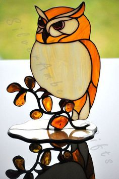 Stained glass owl tiffany glass bird. A by AmberGlassArt on Etsy