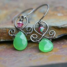 Sale - Eire - Green Briolette Sterling SIlver Earrings