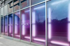 Three empty ex-BBC buildings stood in the middle of one of London's most exciting regeneration projects, White City. Commercial Design, Commercial Interiors, Display Design, Store Design, Retail Facade, Shop Facade, Glass Wall Design, White City, Wayfinding Signage