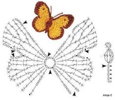"crochet butterfly diagram - click on ""older posts"" at the bottom of pages for scads more crochet diagrams/patterns"