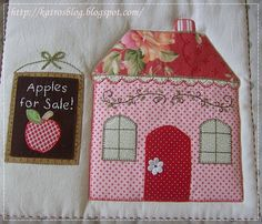Country Cottages, free BOM from Shabby Fabrics House Quilt Block, House Quilts, Fabric Houses, Quilt Blocks, Lap Quilts, Mini Quilts, Embroidered Quilts, Applique Quilts, Country Quilts