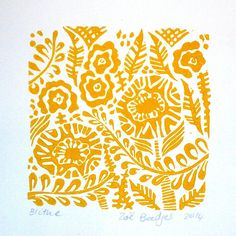 Blithe Linocut Relief Print Original In Mustard Yellow